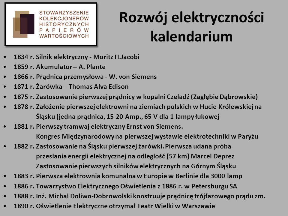 Rozwój elektryczności kalendarium 1834 r. Silnik elektryczny - Moritz H.Jacobi 1859 r. Akumulator – A. Plante 1866 r. Prądnica przemysłowa - W. von Si