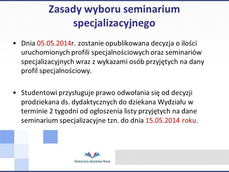 Dnia 05.05.2014r. zostanie opublikowana decyzja o ilości uruchomionych profili specjalnościowych oraz seminariów specjalizacyjnych wraz z wykazami osó