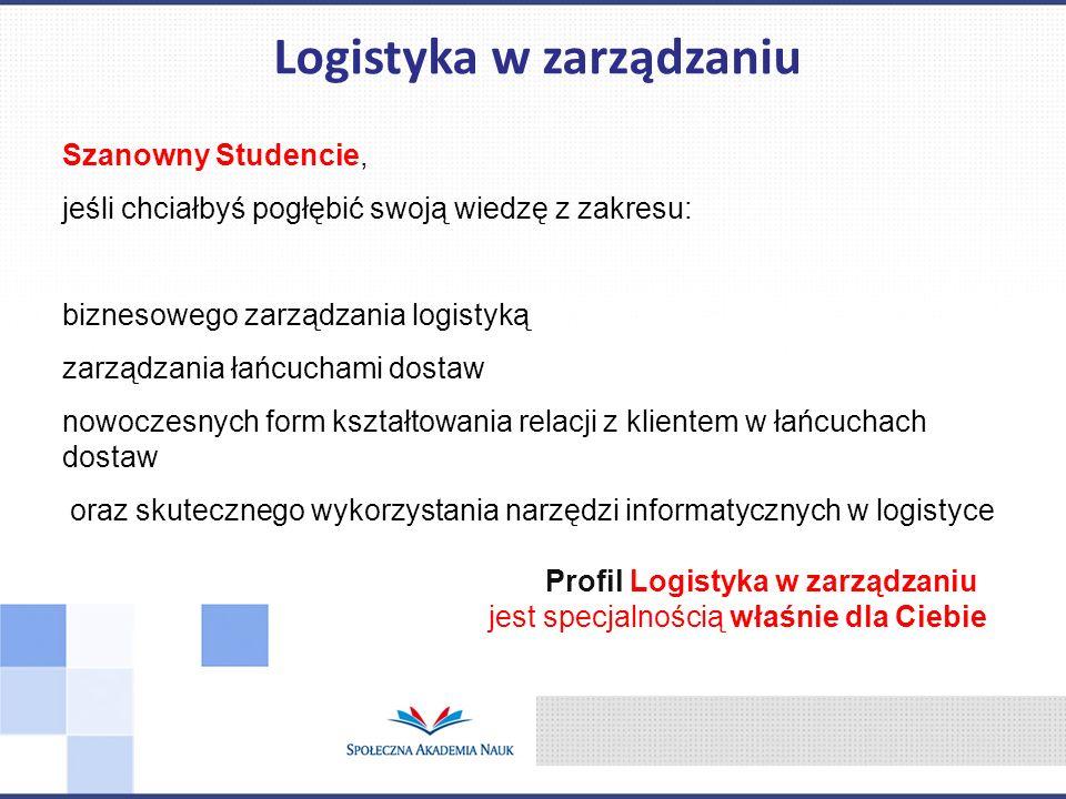 Szanowny Studencie, jeśli chciałbyś pogłębić swoją wiedzę z zakresu: biznesowego zarządzania logistyką zarządzania łańcuchami dostaw nowoczesnych form
