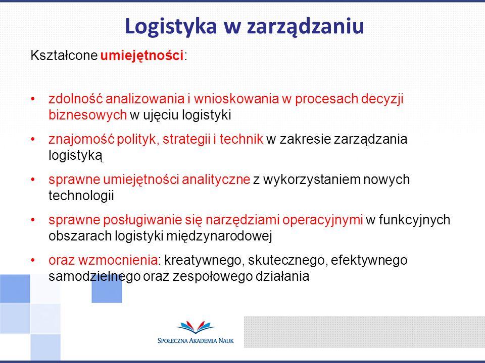 Kształcone umiejętności: zdolność analizowania i wnioskowania w procesach decyzji biznesowych w ujęciu logistyki znajomość polityk, strategii i techni