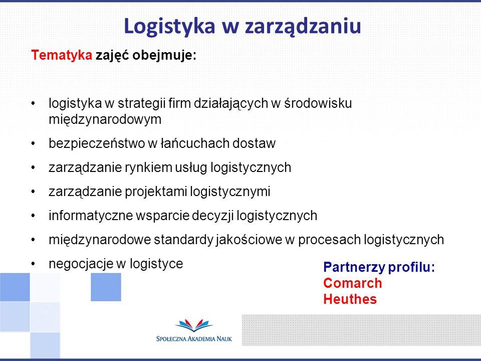 Tematyka zajęć obejmuje: logistyka w strategii firm działających w środowisku międzynarodowym bezpieczeństwo w łańcuchach dostaw zarządzanie rynkiem u