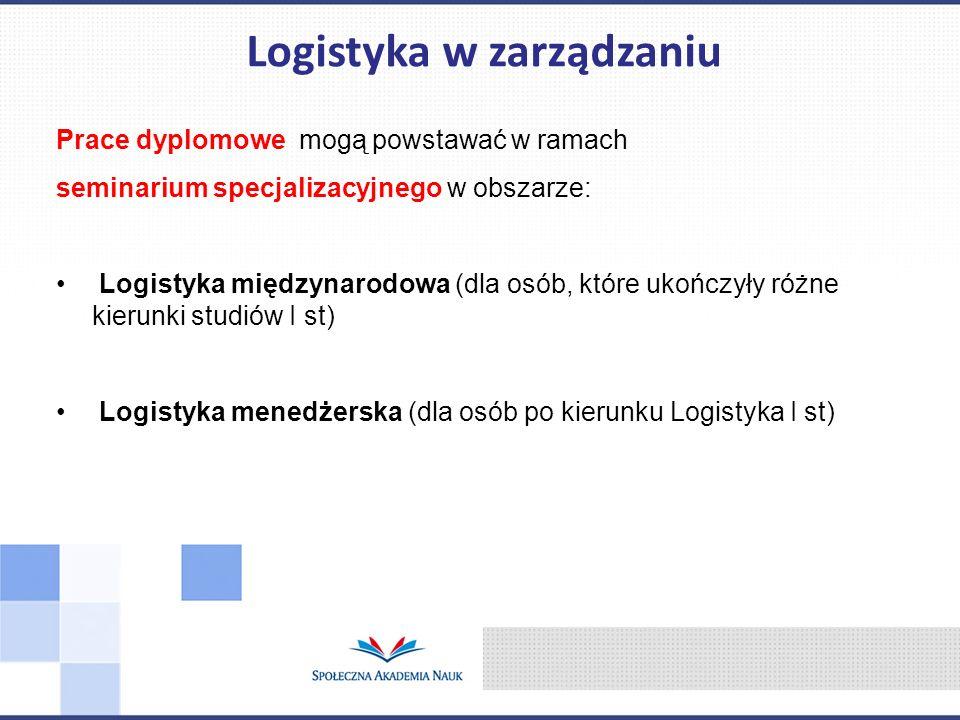 Prace dyplomowe mogą powstawać w ramach seminarium specjalizacyjnego w obszarze: Logistyka międzynarodowa (dla osób, które ukończyły różne kierunki st