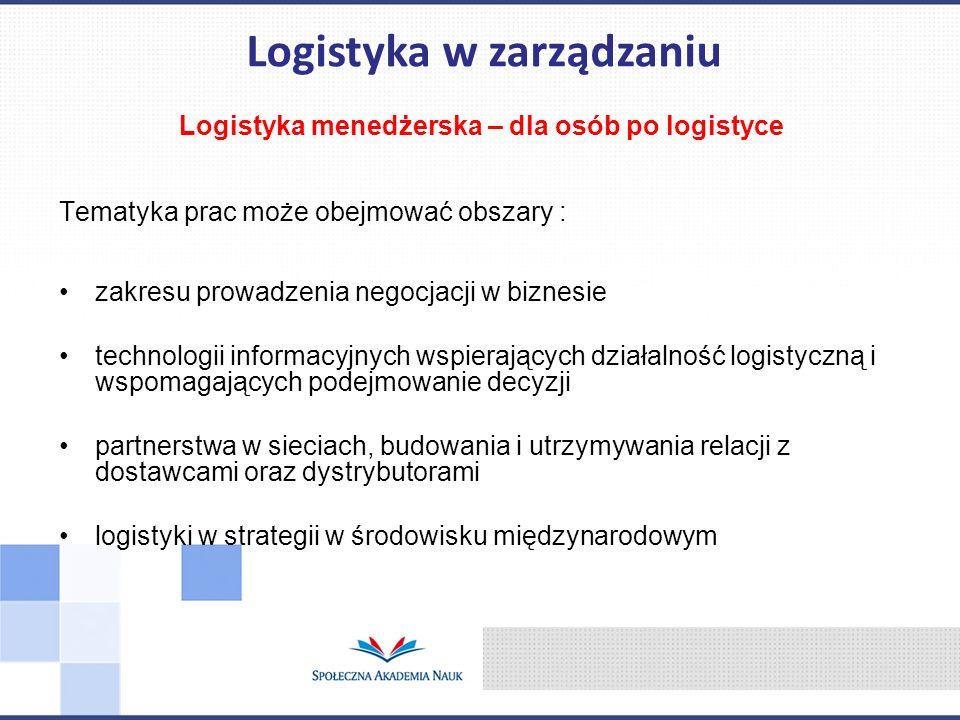 Logistyka menedżerska – dla osób po logistyce Tematyka prac może obejmować obszary : zakresu prowadzenia negocjacji w biznesie technologii informacyjn