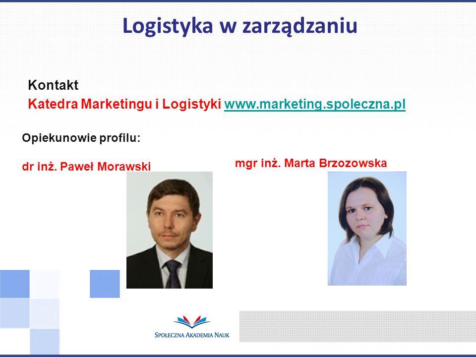 Kontakt Katedra Marketingu i Logistyki www.marketing.spoleczna.plwww.marketing.spoleczna.pl Logistyka w zarządzaniu Opiekunowie profilu: dr inż. Paweł