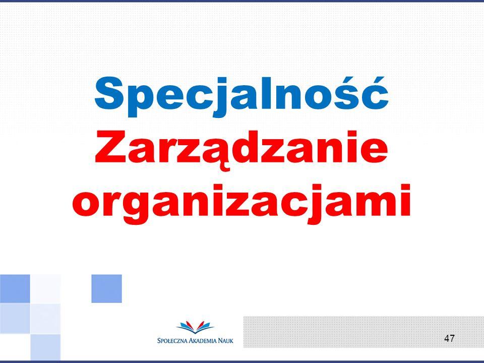 Specjalność Zarządzanie organizacjami 47