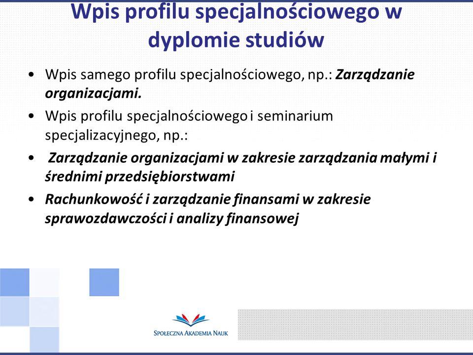 Wpis samego profilu specjalnościowego, np.: Zarządzanie organizacjami. Wpis profilu specjalnościowego i seminarium specjalizacyjnego, np.: Zarządzanie