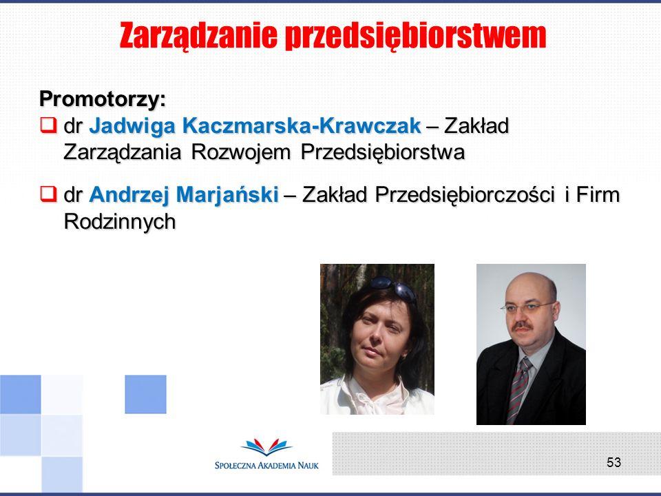 Promotorzy: dr Jadwiga Kaczmarska-Krawczak – Zakład Zarządzania Rozwojem Przedsiębiorstwa dr Jadwiga Kaczmarska-Krawczak – Zakład Zarządzania Rozwojem