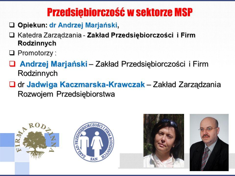 Opiekun: dr Andrzej Marjański, Opiekun: dr Andrzej Marjański, Katedra Zarządzania - Zakład Przedsiębiorczości i Firm Rodzinnych Katedra Zarządzania -