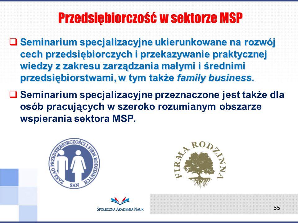 Seminarium specjalizacyjne ukierunkowane na rozwój cech przedsiębiorczych i przekazywanie praktycznej wiedzy z zakresu zarządzania małymi i średnimi p