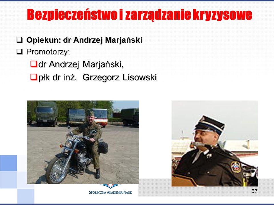 Opiekun: dr Andrzej Marjański Opiekun: dr Andrzej Marjański Promotorzy: Promotorzy: dr Andrzej Marjański, dr Andrzej Marjański, płk dr inż. Grzegorz L