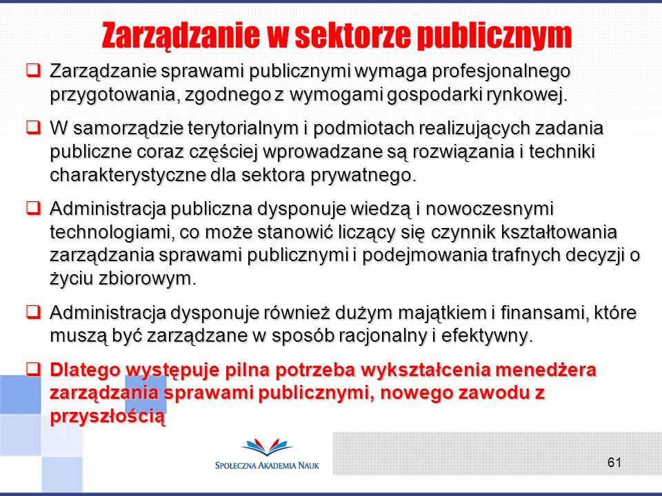 Zarządzanie sprawami publicznymi wymaga profesjonalnego przygotowania, zgodnego z wymogami gospodarki rynkowej. Zarządzanie sprawami publicznymi wymag