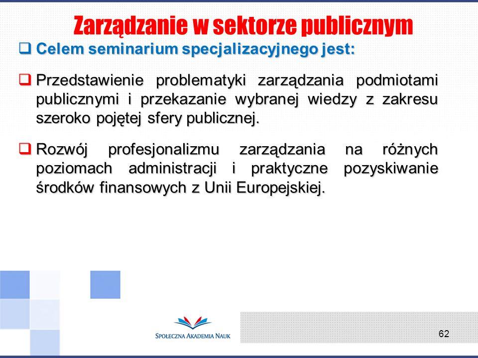 Celem seminarium specjalizacyjnego jest: Celem seminarium specjalizacyjnego jest: Przedstawienie problematyki zarządzania podmiotami publicznymi i prz