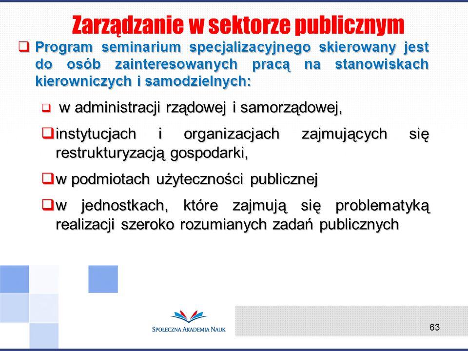 Program seminarium specjalizacyjnego skierowany jest do osób zainteresowanych pracą na stanowiskach kierowniczych i samodzielnych: Program seminarium