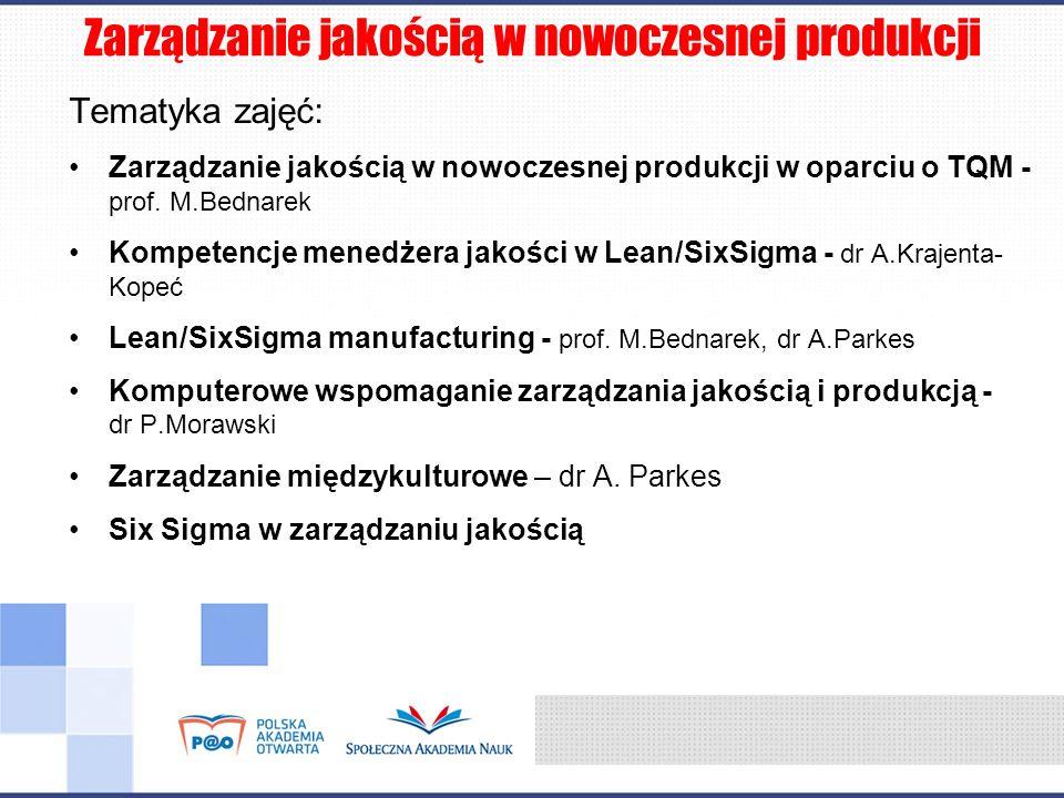 Zarządzanie jakością w nowoczesnej produkcji Tematyka zajęć: Zarządzanie jakością w nowoczesnej produkcji w oparciu o TQM - prof. M.Bednarek Kompetenc