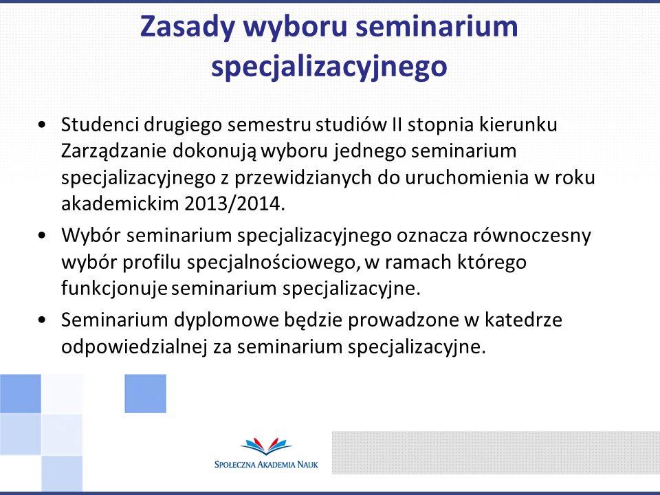 Wyboru seminarium specjalizacyjnego dokonuje się przez elektroniczne wypełnienie pól wyboru w Wirtualnym Dziekanacie.