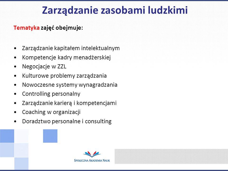 Tematyka zajęć obejmuje: Zarządzanie kapitałem intelektualnym Kompetencje kadry menadżerskiej Negocjacje w ZZL Kulturowe problemy zarządzania Nowoczes