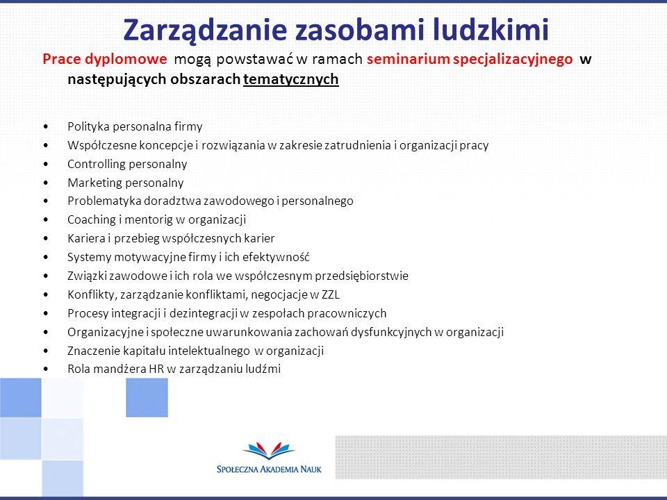 Prace dyplomowe mogą powstawać w ramach seminarium specjalizacyjnego w następujących obszarach tematycznych Polityka personalna firmy Współczesne konc