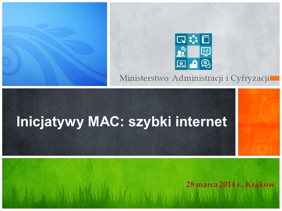 Ministerstwo Administracji i Cyfryzacji Inicjatywy MAC: szybki internet 28 marca 2014 r., Kraków