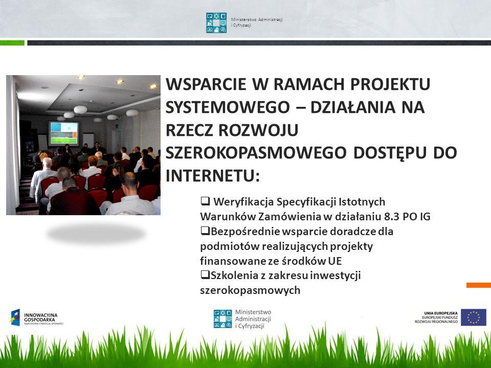 WSPARCIE W RAMACH PROJEKTU SYSTEMOWEGO – DZIAŁANIA NA RZECZ ROZWOJU SZEROKOPASMOWEGO DOSTĘPU DO INTERNETU: Ministerstwo Administracji i Cyfryzacji Wer