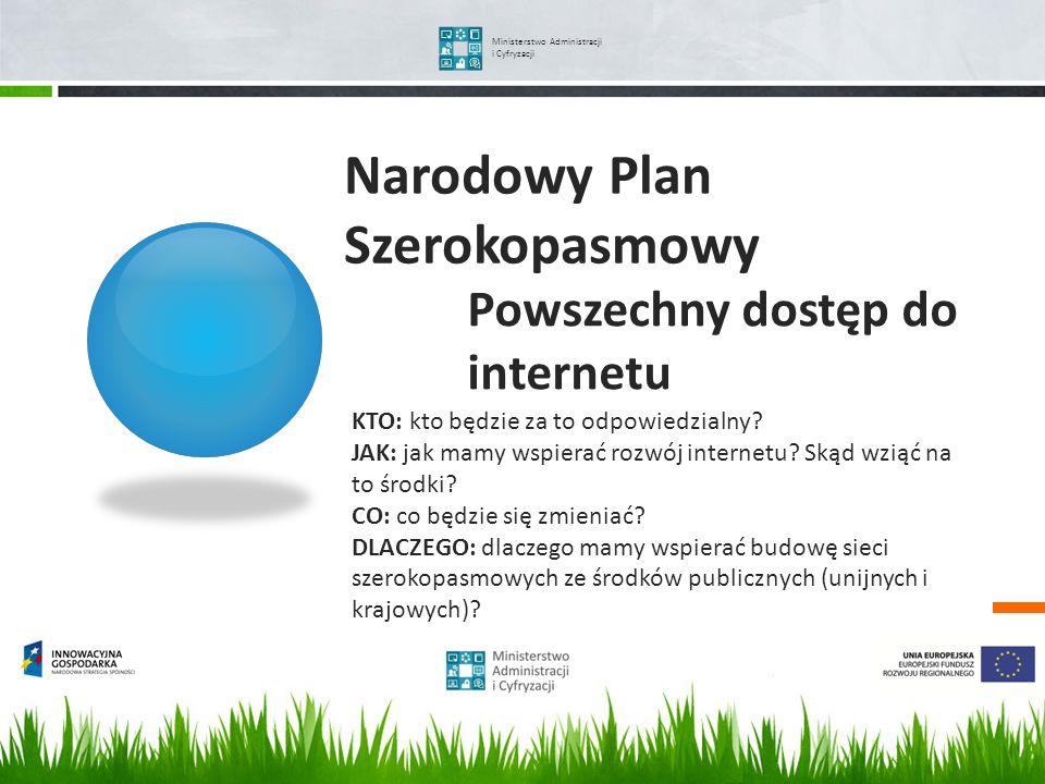 Narodowy Plan Szerokopasmowy Ministerstwo Administracji i Cyfryzacji KTO: kto będzie za to odpowiedzialny? JAK: jak mamy wspierać rozwój internetu? Sk