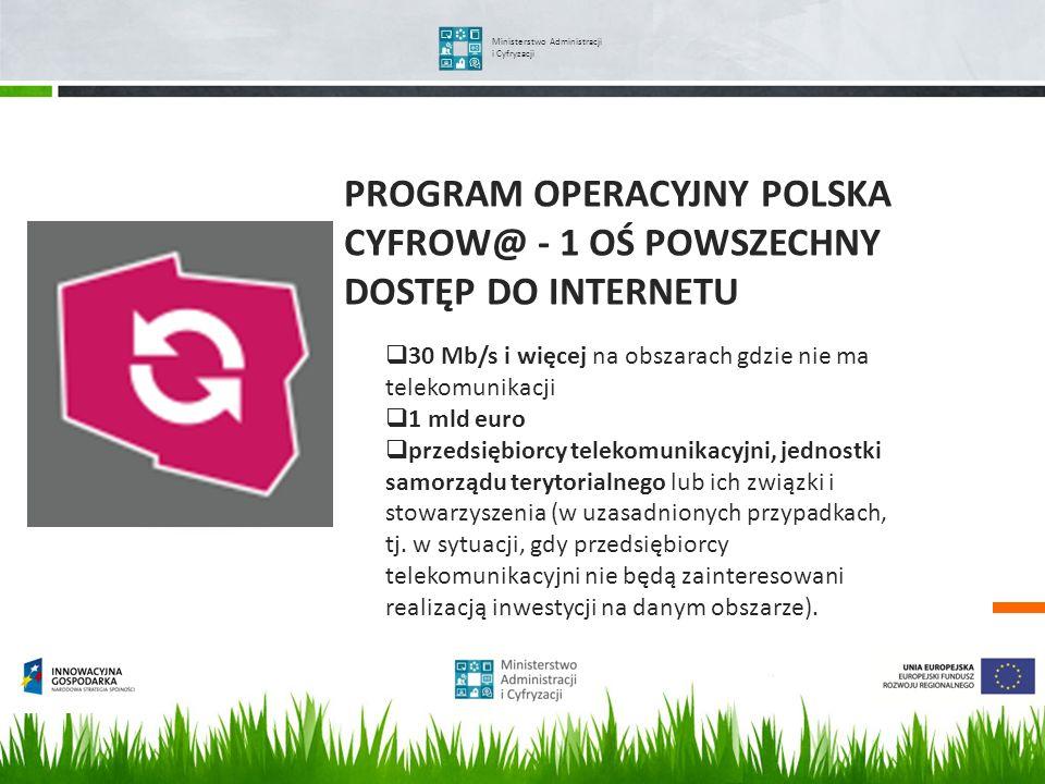 PROGRAM OPERACYJNY POLSKA CYFROW@ - 1 OŚ POWSZECHNY DOSTĘP DO INTERNETU Ministerstwo Administracji i Cyfryzacji 30 Mb/s i więcej na obszarach gdzie ni