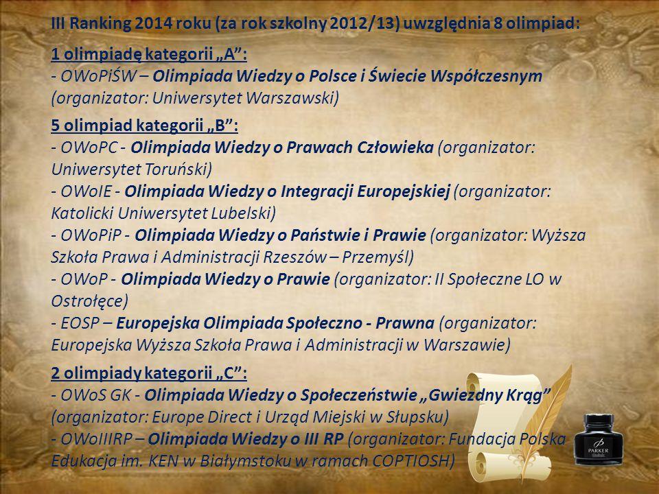 III Ranking 2014 roku (za rok szkolny 2012/13) uwzględnia 8 olimpiad: 1 olimpiadę kategorii A: - OWoPiŚW – Olimpiada Wiedzy o Polsce i Świecie Współcz