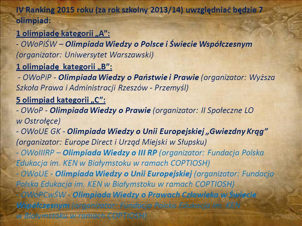 IV Ranking 2015 roku (za rok szkolny 2013/14) uwzględniać będzie 7 olimpiad: 1 olimpiadę kategorii A: - OWoPiŚW – Olimpiada Wiedzy o Polsce i Świecie