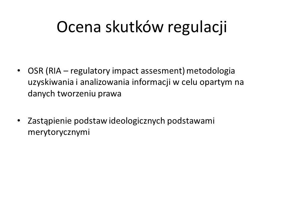 Ocena skutków regulacji OSR (RIA – regulatory impact assesment) metodologia uzyskiwania i analizowania informacji w celu opartym na danych tworzeniu prawa Zastąpienie podstaw ideologicznych podstawami merytorycznymi