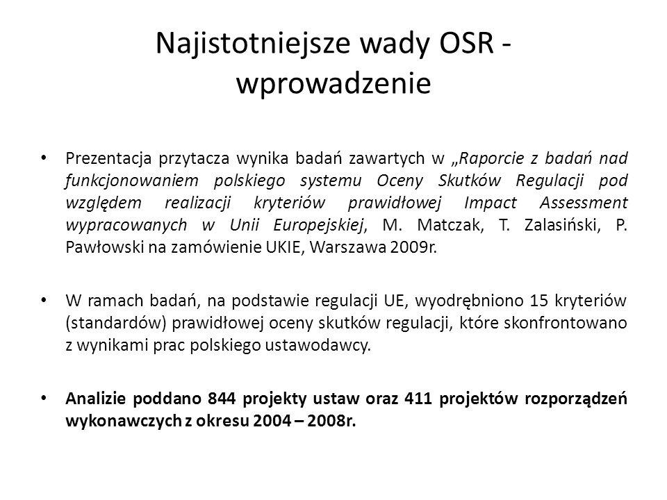 Najistotniejsze wady OSR - wprowadzenie Prezentacja przytacza wynika badań zawartych w Raporcie z badań nad funkcjonowaniem polskiego systemu Oceny Skutków Regulacji pod względem realizacji kryteriów prawidłowej Impact Assessment wypracowanych w Unii Europejskiej, M.