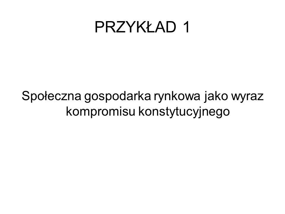 PRZYKŁAD 1 –Wybór ustroju gospodarczego Rzeczypospolitej Polskiej jest przykładem kompromisu między różnymi stanowiskami dotyczącymi roli państwa w gospodarce – np.