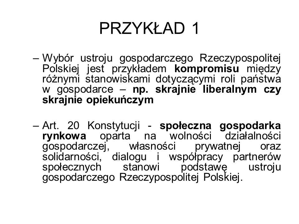 PRZYKŁAD 1 –Wybór ustroju gospodarczego Rzeczypospolitej Polskiej jest przykładem kompromisu między różnymi stanowiskami dotyczącymi roli państwa w go