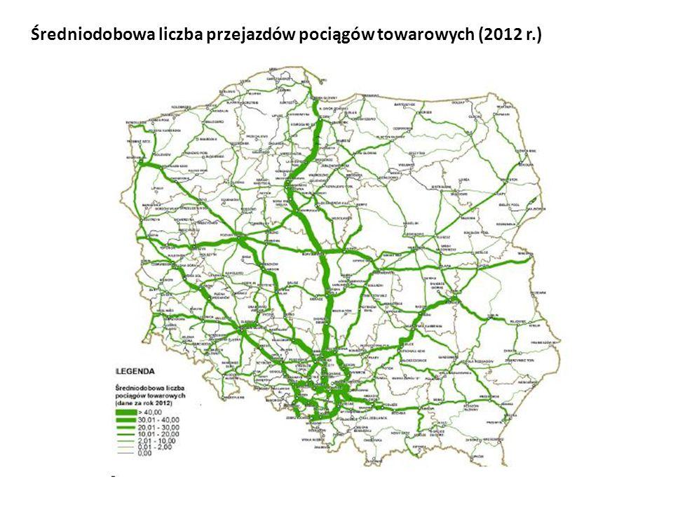 Średniodobowa liczba przejazdów pociągów towarowych (2012 r.)