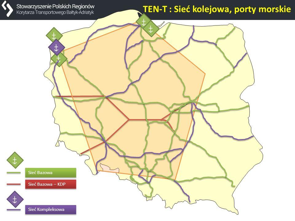 Sieć Bazowa – KDP TEN-T : Sieć kolejowa, porty morskie Sieć Bazowa Sieć Kompleksowa