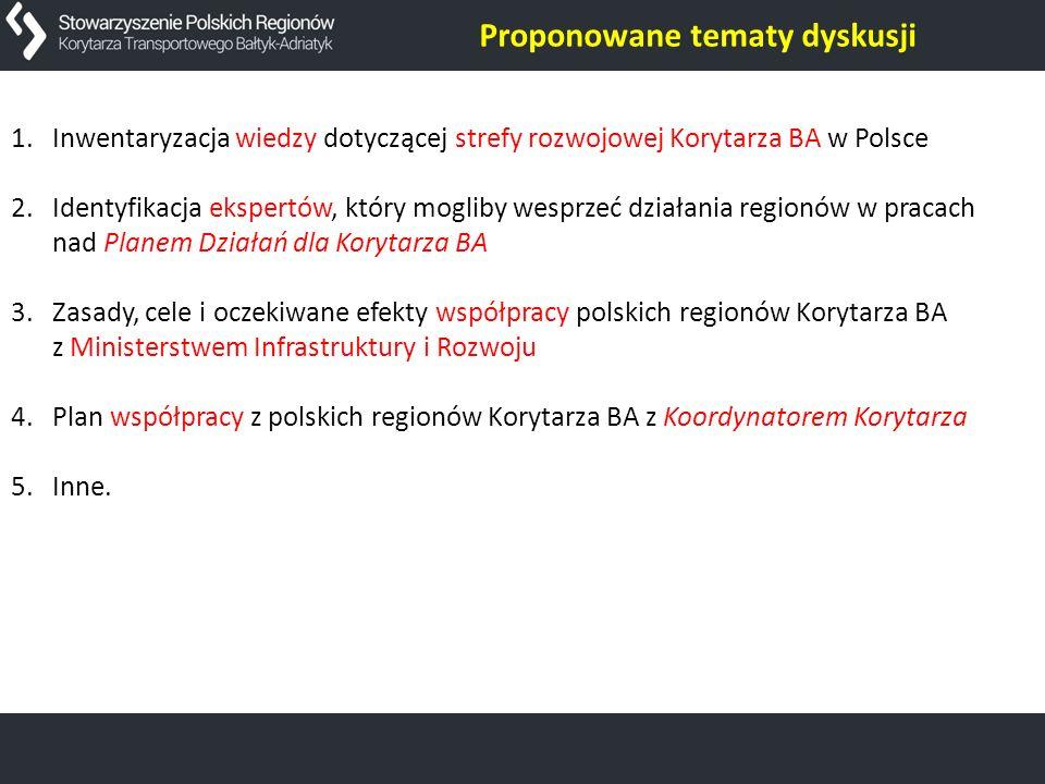 1.Inwentaryzacja wiedzy dotyczącej strefy rozwojowej Korytarza BA w Polsce 2.Identyfikacja ekspertów, który mogliby wesprzeć działania regionów w prac