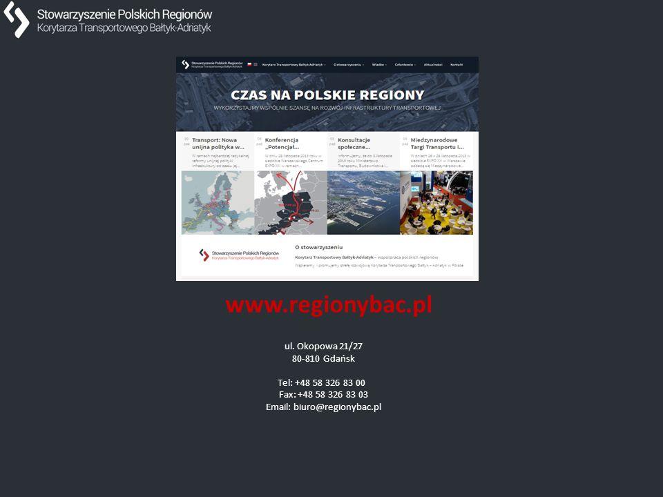 Dziękuję za uwagę. ul. Okopowa 21/27 80-810 Gdańsk Tel: +48 58 326 83 00 Fax: +48 58 326 83 03 Email: biuro@regionybac.pl www.regionybac.pl