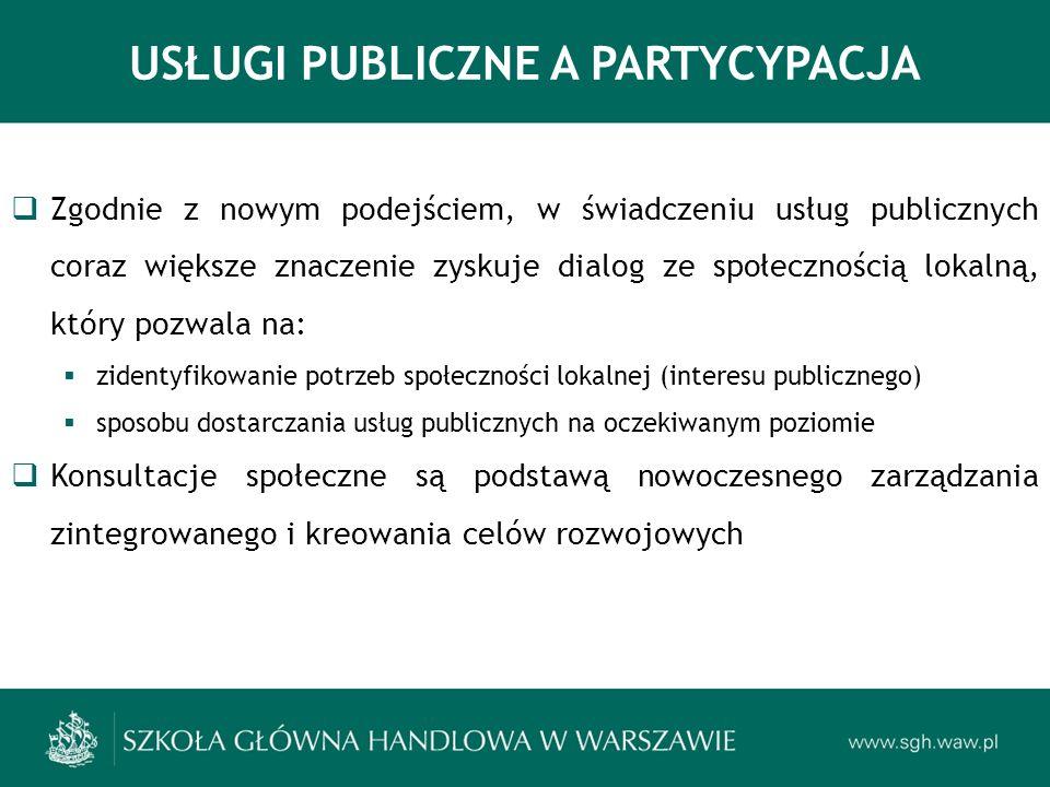 USŁUGI PUBLICZNE A PARTYCYPACJA Zgodnie z nowym podejściem, w świadczeniu usług publicznych coraz większe znaczenie zyskuje dialog ze społecznością lokalną, który pozwala na: zidentyfikowanie potrzeb społeczności lokalnej (interesu publicznego) sposobu dostarczania usług publicznych na oczekiwanym poziomie Konsultacje społeczne są podstawą nowoczesnego zarządzania zintegrowanego i kreowania celów rozwojowych