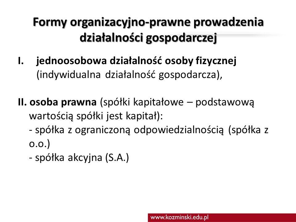 Formy organizacyjno-prawne prowadzenia działalności gospodarczej III.