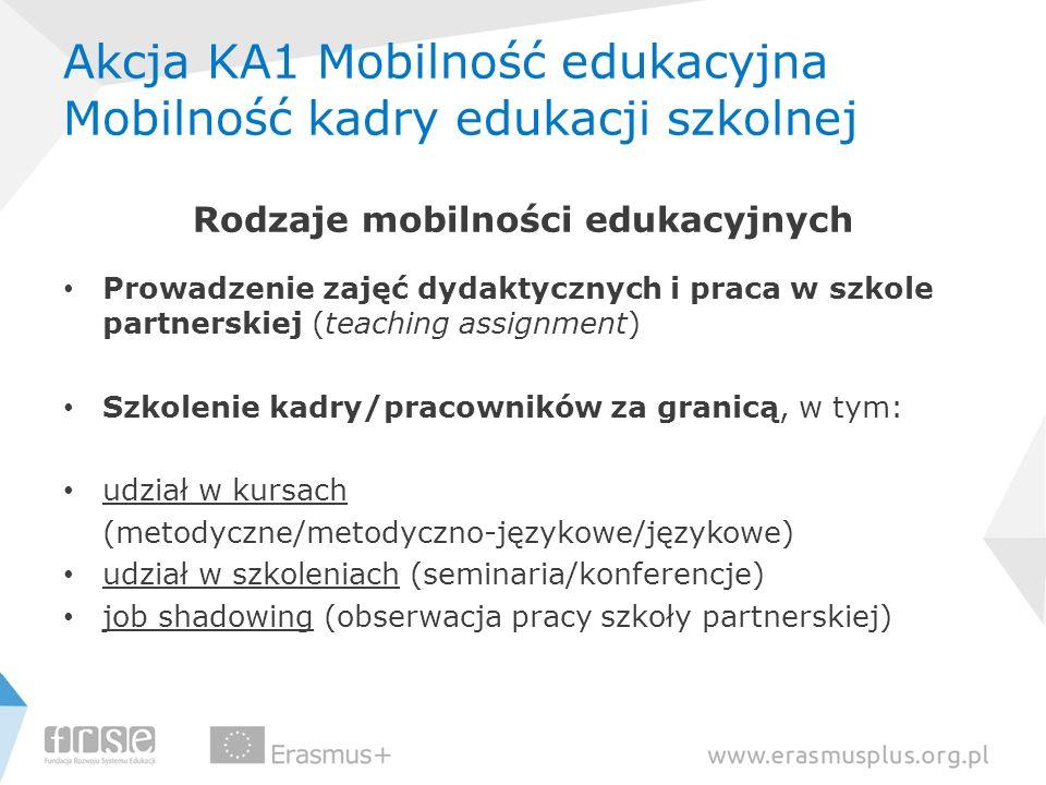 Akcja KA1 Mobilność edukacyjna Mobilność kadry edukacji szkolnej Rodzaje mobilności edukacyjnych Prowadzenie zajęć dydaktycznych i praca w szkole part