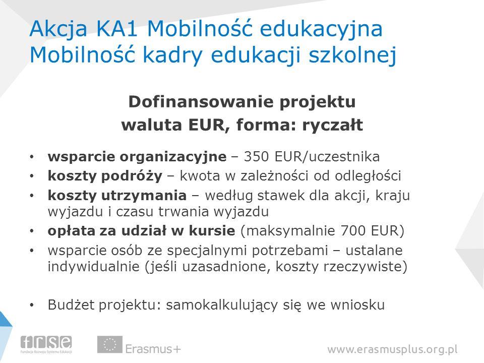Akcja KA1 Mobilność edukacyjna Mobilność kadry edukacji szkolnej Dofinansowanie projektu waluta EUR, forma: ryczałt wsparcie organizacyjne – 350 EUR/u