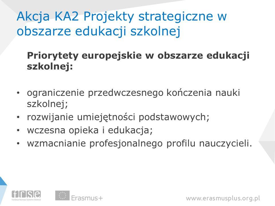 Akcja KA2 Projekty strategiczne w obszarze edukacji szkolnej Priorytety europejskie w obszarze edukacji szkolnej: ograniczenie przedwczesnego kończeni