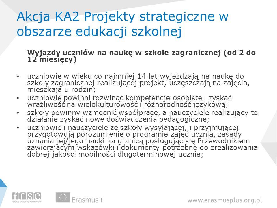 Akcja KA2 Projekty strategiczne w obszarze edukacji szkolnej Wyjazdy uczniów na naukę w szkole zagranicznej (od 2 do 12 miesięcy) uczniowie w wieku co