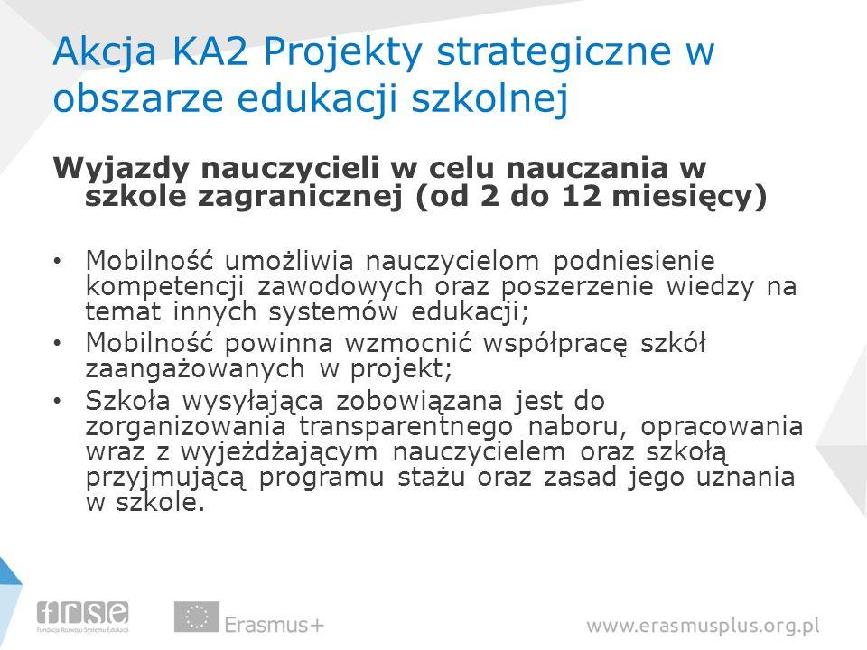 Akcja KA2 Projekty strategiczne w obszarze edukacji szkolnej Wyjazdy nauczycieli w celu nauczania w szkole zagranicznej (od 2 do 12 miesięcy) Mobilnoś