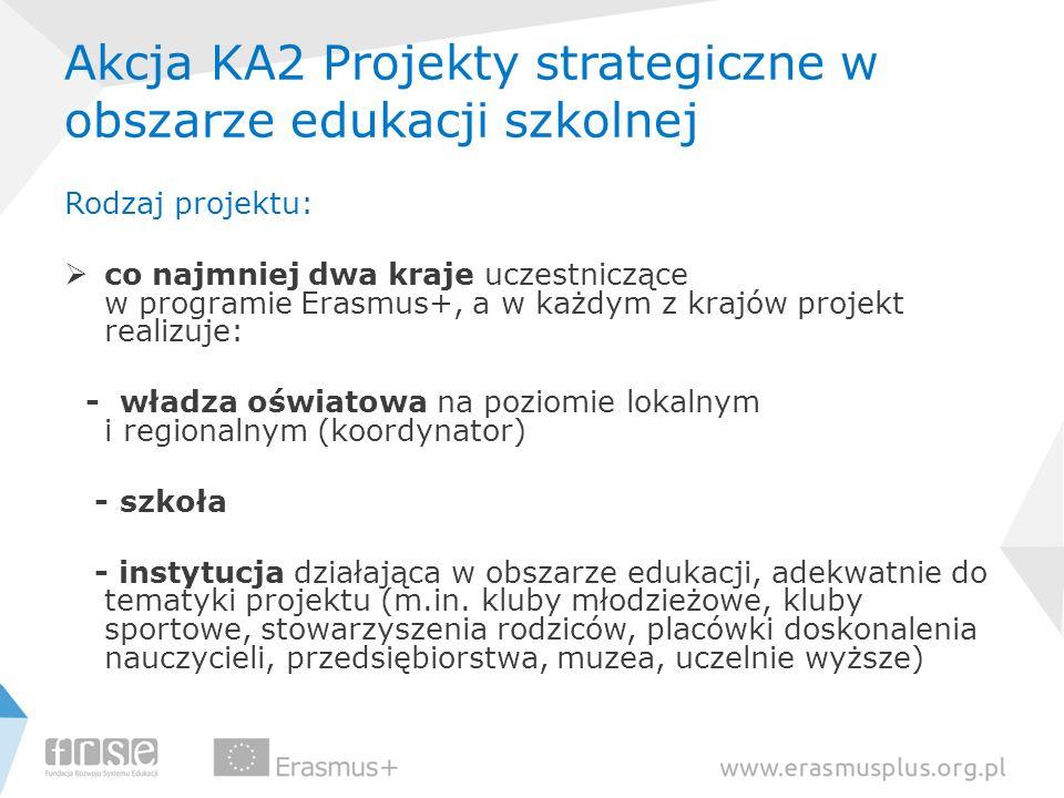Akcja KA2 Projekty strategiczne w obszarze edukacji szkolnej Rodzaj projektu: co najmniej dwa kraje uczestniczące w programie Erasmus+, a w każdym z k