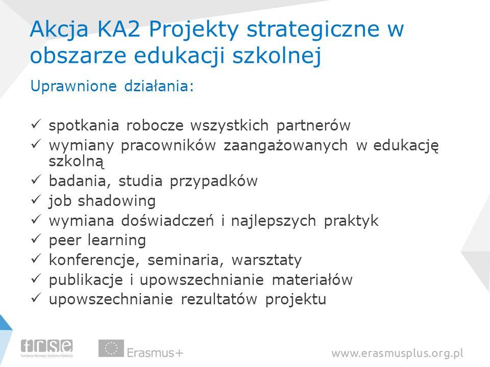 Akcja KA2 Projekty strategiczne w obszarze edukacji szkolnej Uprawnione działania: spotkania robocze wszystkich partnerów wymiany pracowników zaangażo