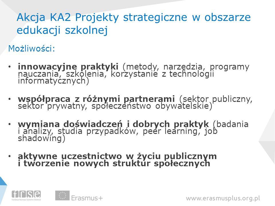 Akcja KA2 Projekty strategiczne w obszarze edukacji szkolnej Możliwości: innowacyjne praktyki (metody, narzędzia, programy nauczania, szkolenia, korzy