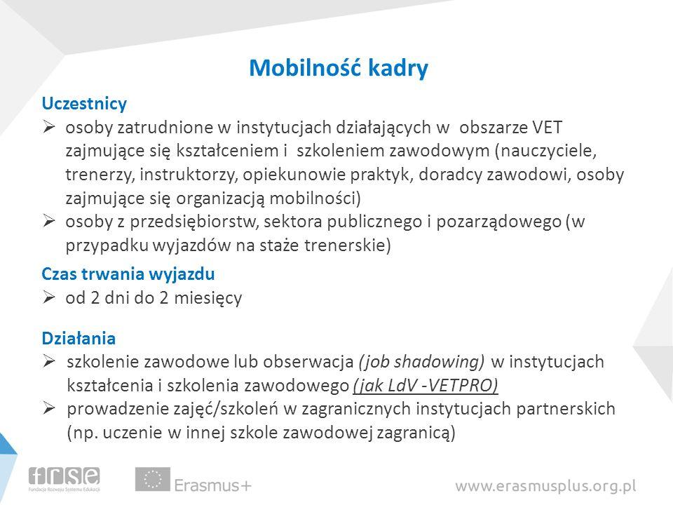 Mobilność kadry Uczestnicy osoby zatrudnione w instytucjach działających w obszarze VET zajmujące się kształceniem i szkoleniem zawodowym (nauczyciele
