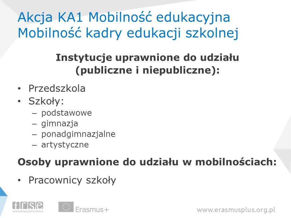 Akcja KA1 Mobilność edukacyjna Mobilność kadry edukacji szkolnej Instytucje uprawnione do udziału (publiczne i niepubliczne): Przedszkola Szkoły: – po