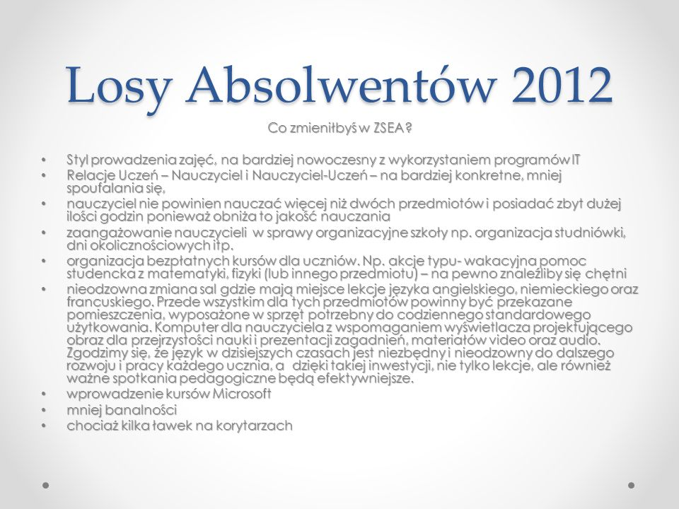 Losy Absolwentów 2012 Co zmieniłbyś w ZSEA? Styl prowadzenia zajęć, na bardziej nowoczesny z wykorzystaniem programów IT Styl prowadzenia zajęć, na ba