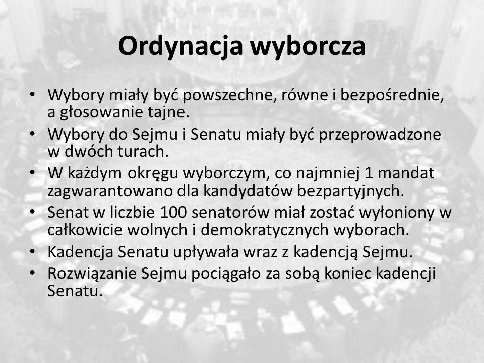 Ordynacja wyborcza Wybory miały być powszechne, równe i bezpośrednie, a głosowanie tajne. Wybory do Sejmu i Senatu miały być przeprowadzone w dwóch tu
