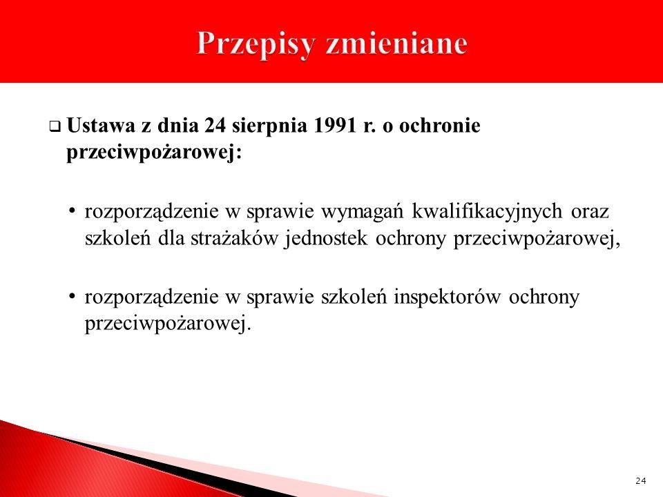 Ustawa z dnia 24 sierpnia 1991 r. o ochronie przeciwpożarowej: rozporządzenie w sprawie wymagań kwalifikacyjnych oraz szkoleń dla strażaków jednostek